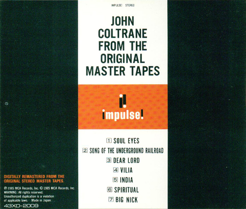 coltrane gold master tapes back insert_500
